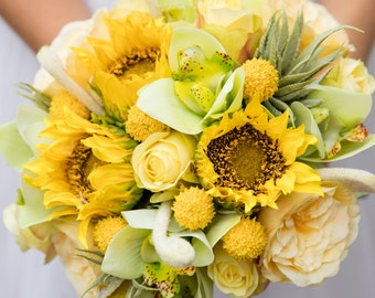Bridal bouquet artificial faux flower bouquet in sunflower yellow, pale yellow and green