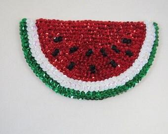 Glass Beaded Fruit Magnet,  Watermelon Magnet,  Felt Magnet, Kitchen Magnet, Refrigerator  Magnet