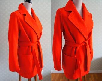 Bright Red first wool Vintage Blazer. German clothing. 70s Belted vintage Blazer.