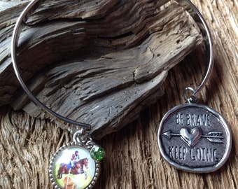 Cross Country 3 day eventing bracelet: Be brave bracelet with cross country rider and horse Horse show phrase bracelet equestrian bracelet