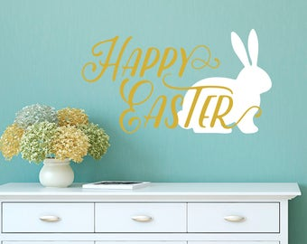 Happy Easter With White Bunny Wall Quote