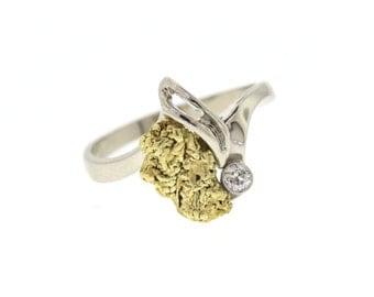 Custom Mariposa Gold Nugget & Diamond Ring, Natural California Gold Nugget Ring