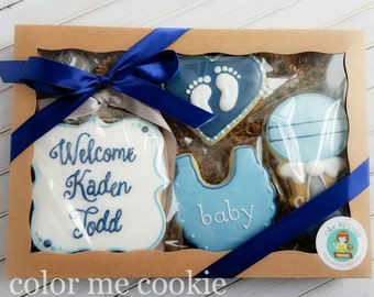 Welcome New Baby Boy/Girl SUGAR COOKIE Gift Box Set of 4 personalized