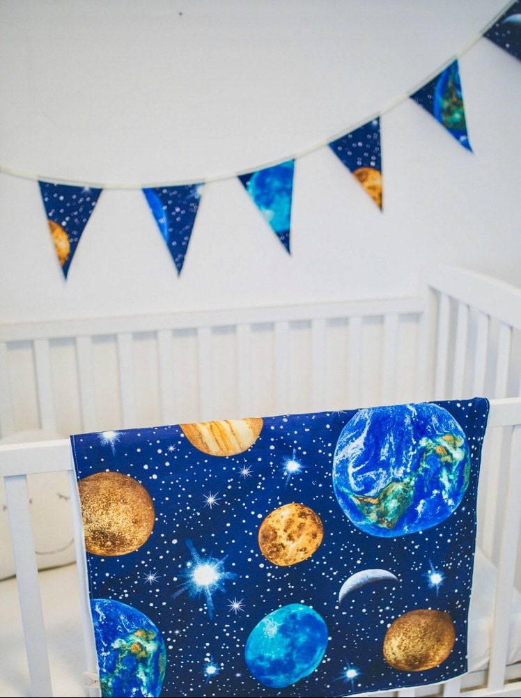 Planet earth designer curtain upholstery cotton fabric for Space curtain fabric
