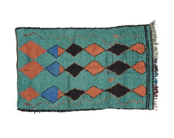 Ocean Green, Coral & Blue Vintage Moroccan Rug - azilal berber carpet 210x130cm 4x7Foot
