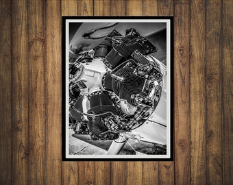 Boeing Stearman Radial Engine B/W Photo Print