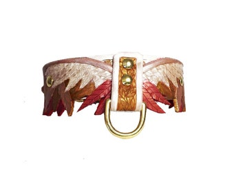 Red/Gold Wing Hand Tooled Leather Dog Collar