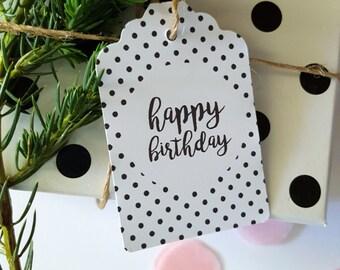 Monochrome Happy Birthday Gift Tags x 6
