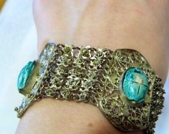 Vintage Egyptian revival style filigree scarab beetle bracelet