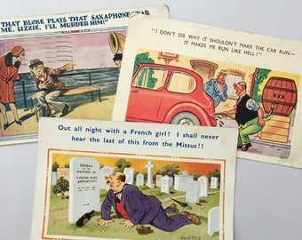 3 Vintage Comedy Postcards, Saucy Postcards, A 'Bamforth' Comic, 1950's Stamped Postcards, Classic Humour