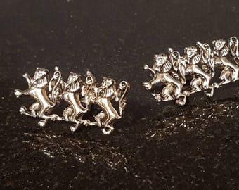 Awesome three lion Passant vintage heraldry cufflinks Swank wedding  J-7