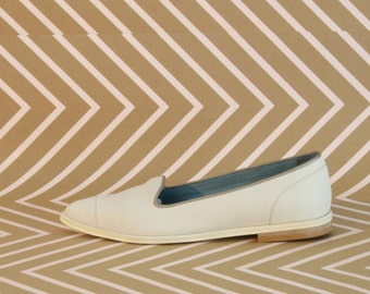 White Leather Women's Moccasin - Women's Moccasin - Women's leather Shoes - Women's Flat Shoes - White Leather Shoes - Pointy Flats