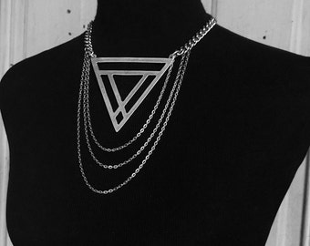 Maat Choker Necklace - Huge Silver Triangle with Chains - Geometric Jewelry  - Witchy - Goth - Avant Garde - High Fashion - Statement