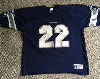 Rare Vintage Rookie Emmitt Smith NFL Football Dallas Cowboys Logo 7 Jersey Size XL