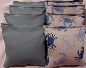8 ACA Regulation Cornhole Bags - 4 Tropical Beach Ocean Crabs and 4 Solid Blue