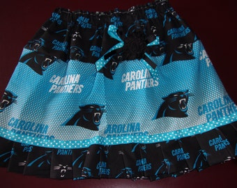 Girl's Skirt Size Newborn to 6 NFL Carolina Panthers with Flower & Bow Embellishments