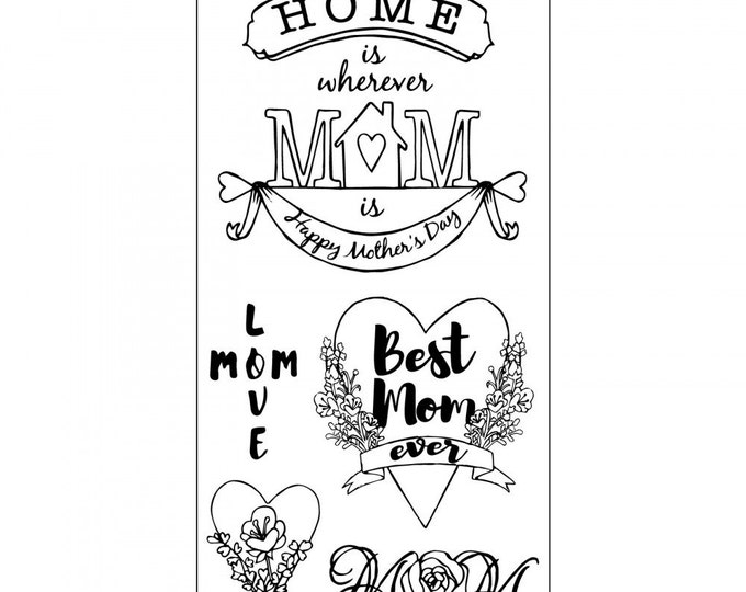 New! Sizzix Clear Stamps - Best Mom Ever - Mother's Day Theme Stamps by Jen Long 662001