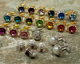 Swarovski cufflinks, 25 colors, gold or silver, crystal cufflinks, formal, prom, cruise, wedding accessories