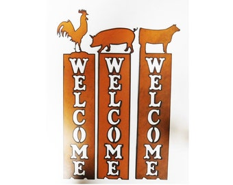 Pig Goat Heifer Lamb Rooster Farm Vertical Welcome Sign made of Rustic Rusty Rusted Recycled Metal 4h ffa