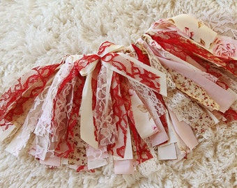 Rag Tie Tutu, Red, Ivory, Shabby Chic, Vintage, Floral, Cake Smash, Photo Shoot, Valentine, Love, Fabric Scrap Tutu