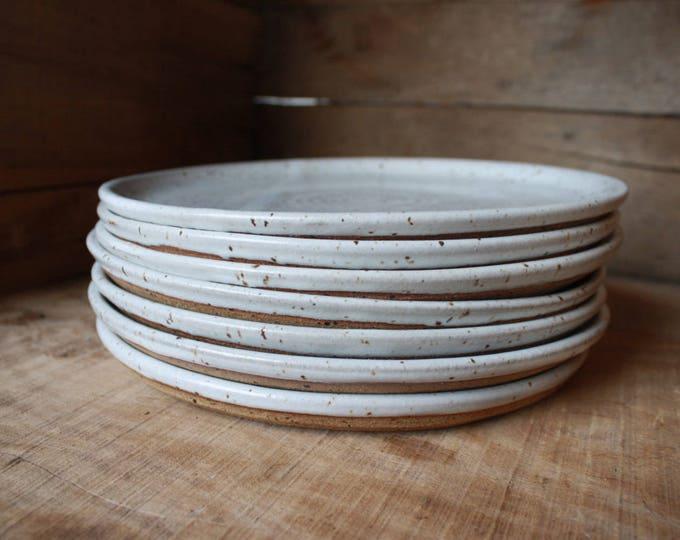 Set of 8 - Dinner Plates - Speckled White - KJ Pottery