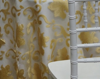 Fleur De Lis Tablecloth in Gold - Ideal for Weddings & Bridal Events