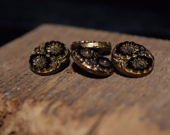 Set of Four Victorian Jet Buttons Gold Rubbed Black Glass Buttons