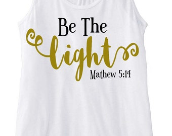 Women's Be the Light Flowy Tank Top with Gold Light
