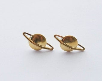 Saturn Studs, Cosmos Earrings, Gold Saturn Earrings, Planet Earrings, Space Earrings, Geek Earrings, Gifts for Geeks, Space Jewelry