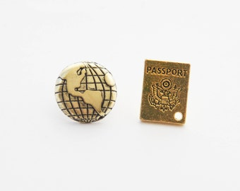 Travel Tie Tacks, Globe Pin, Passport Pin, BFF Travel Gifts, Lapel Pin Set, Travel Gifts for Men, Passport Globe Tie Pins, Planet Earth Pin