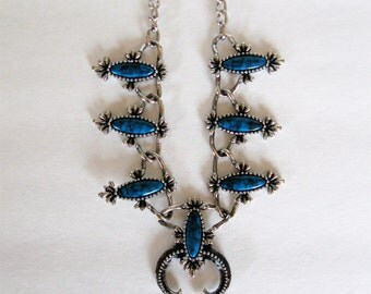 Vintage Sarah Coventry Necklace and Earrings Squash Blossom Faux Turquoise 1970s