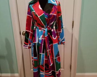 Vintage 70'S Colorblock Maxi Coat