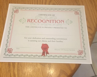 Personalized Certificate of Recognition