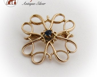 Ornate Open Work Brooch 10 K Gold Sapphire