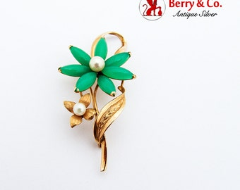 Green Chalcedony Flower Brooch 14K Gold Pearl Accents