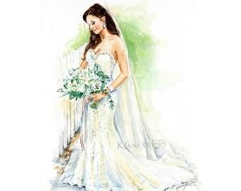 Custom Wedding Dress Portrait/Bridal Portrait/Wedding Gift/Wedding Gown/ Custom Wedding Portrait
