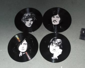 Led Zeppelin, set of 4 hand painted vinyl 12ins discs.