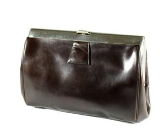Art Deco Clutch Frame Bag Brown Leather