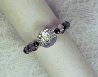 "Cynthia Lynn ""DARK CRYSTAL"" Jet Hematite Reversible Clear Crystal Beaded Stretch Ring"
