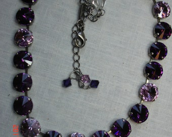 12 M Crystal AMETHYST-Lt. Amethyst Swarovski Necklace in a Antique Silver setting it is16 in long witha 3.5 in ext