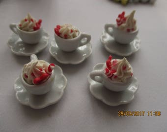 1 china hot drink in 1:10 size (too large for 12th)  with choice strawberry topping - so detailed and pretty GREAT PRICE