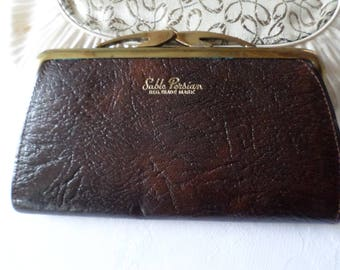 Vintage leather purse Brown Leather & Gold tone metal clasp 1950's