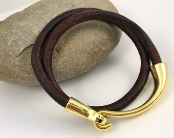 Chocolate Brown Double Wrap Hook Clasp Leather Bracelet, Gold Tone Hook Clasp, Leather Bangle,Unisex Leather Bracelet, Brown /Gold Bracelet,