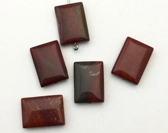5 apple jasper stone beads/ 13mmx 18mm rectangle shape #PP 010-2