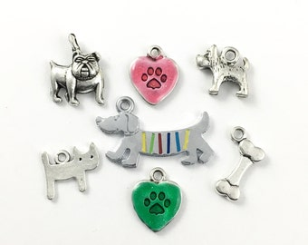 8 I love my dog charms collection antique silver# ENS A 310