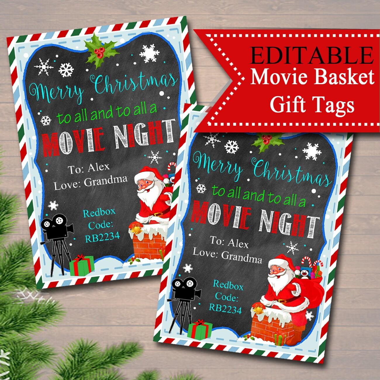 Christmas Ideas Secret Santa: EDITABLE Christmas Movie Gift Tags Secret Santa Printable