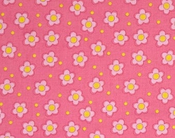 Floral Fabric by the Yard, Quilting, Nursery, Baby, Girl, Cotton, Pink, Yellow, Dot, Flower, Small Print, Childrens, Decor, Whoo Loves You