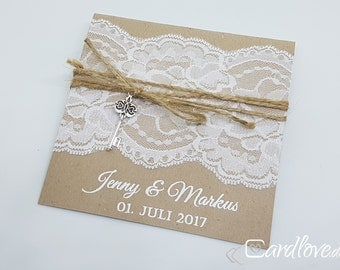 square invitation lace with key #1, incl. printing and envelope