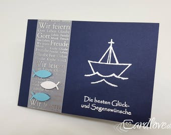 Greeting card Christian to the baptism or communion ship
