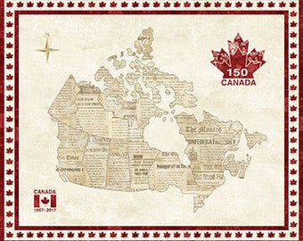 O Canada! Canadian Sesquicentennial Map Panel Northcott Stonehenge Quilt Cotton